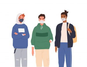 Group of teenagers wearing protective masks