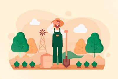 an illustration of a farmer working on his farm