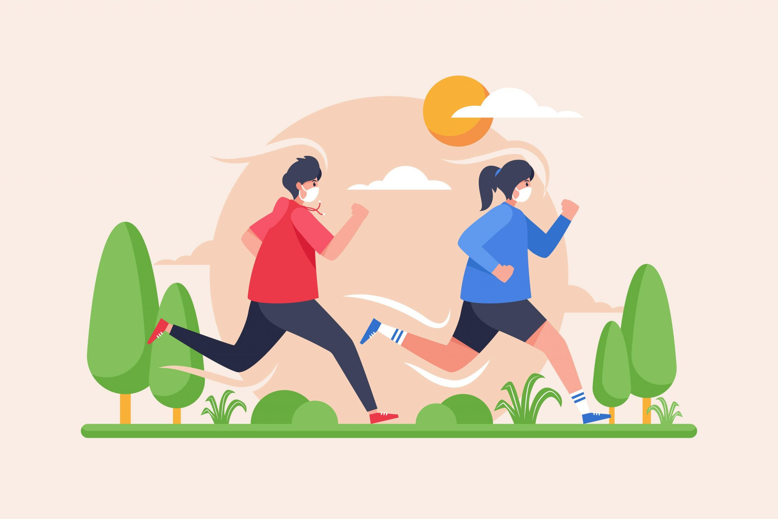 two people with facemasks on jogging