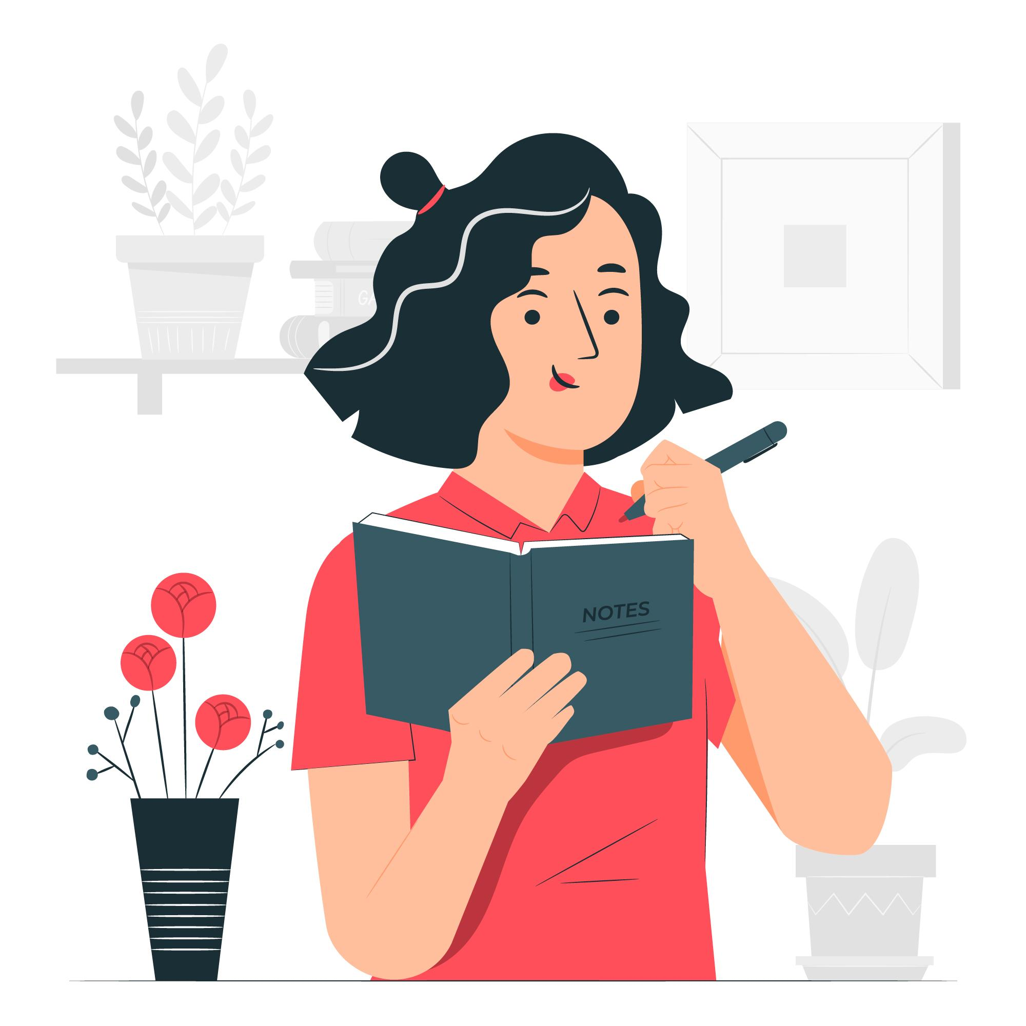 A woman writing something in her journal