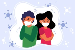 Concerned unhappy people feeling anxiety and fear about corona virus. Man and woman wearing face medical masks. Vector illustration for coronavirus panic attack and warning concepts